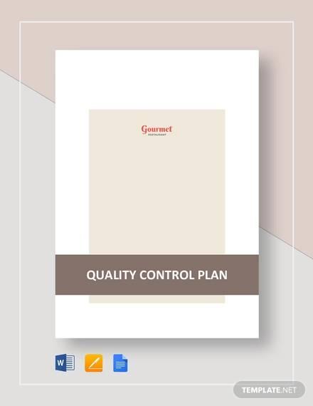 restaurant quality control plan template
