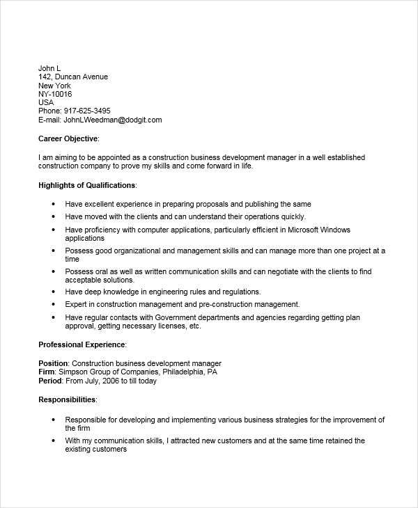 resume construction business manager