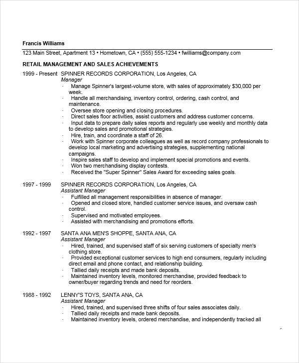 resume for clothing store manager