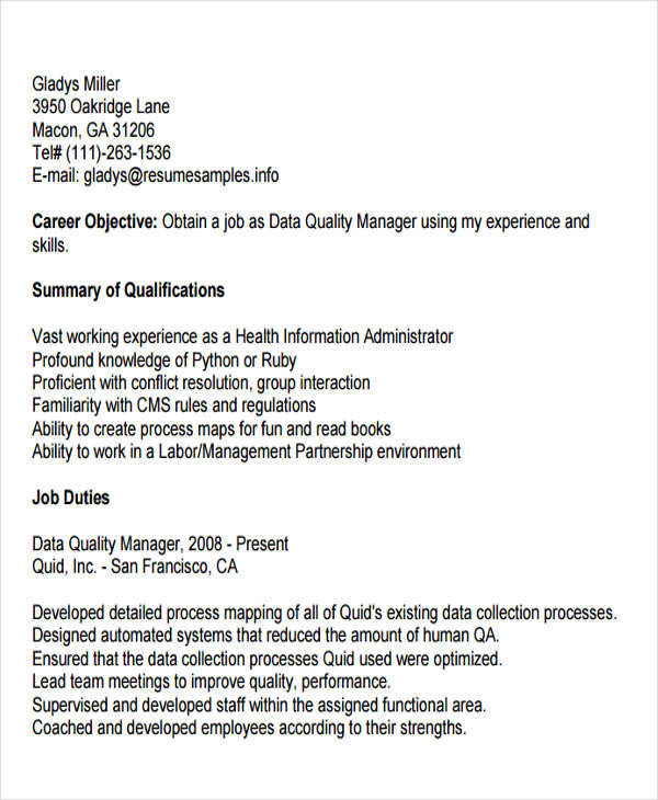 Resume For Data Quality Manager  Quality Manager Resume