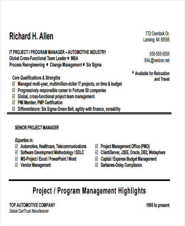resume for it program manager