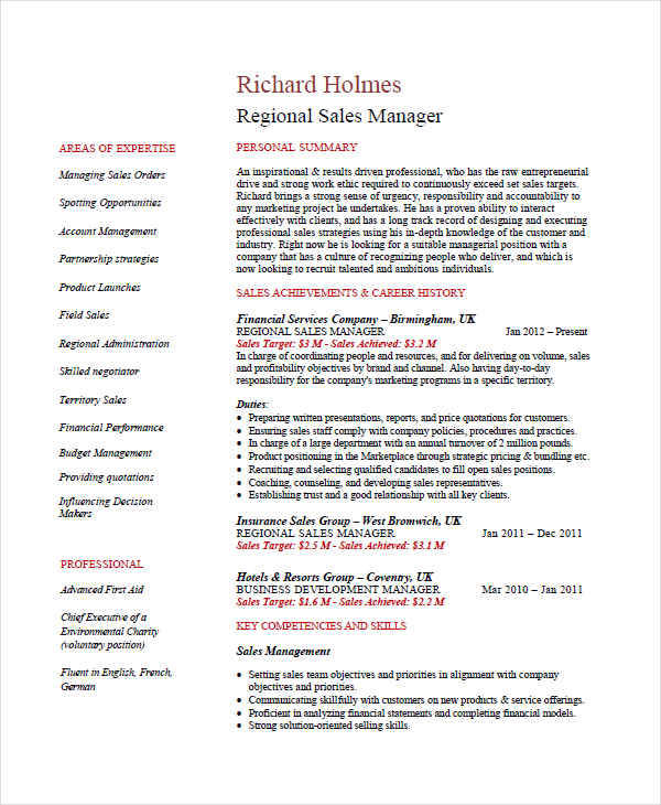 resume for regional sales manager1
