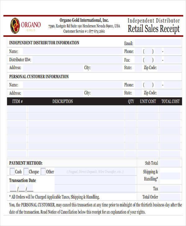 retail sales receipt
