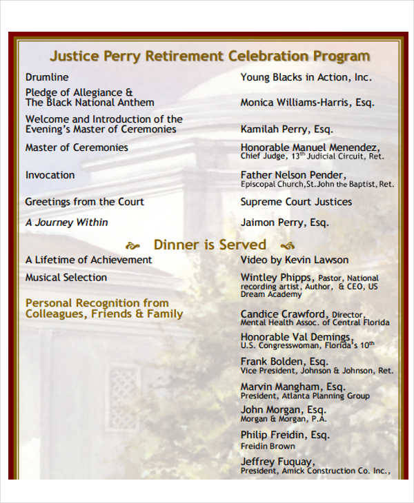 bon Retirement Celebration Program