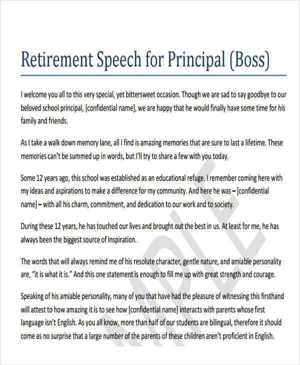 44 speech samples sample templates for Retirement speech template