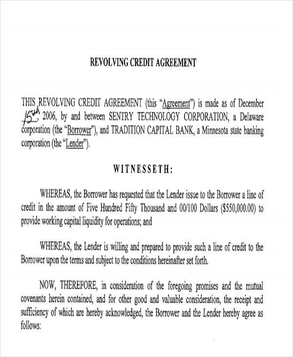 Credit Agreement  Free Sample Example  Format Download