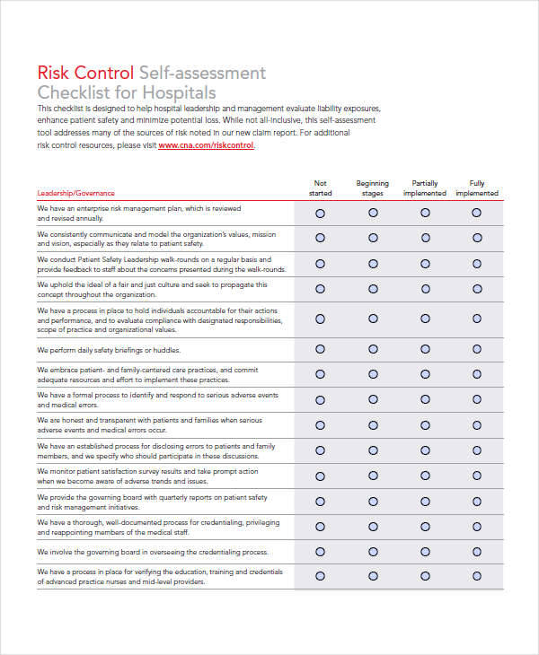 33 assessment examples in pdf sample templates for Risk control self assessment template