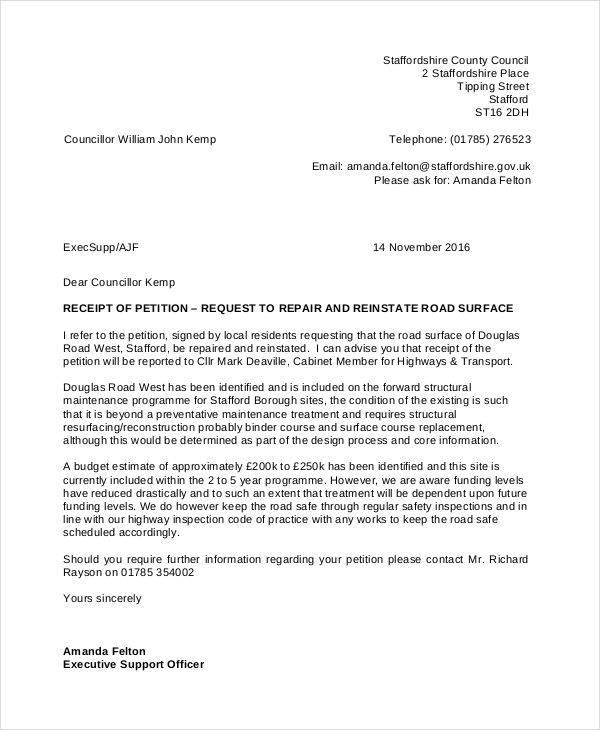 road repair petition