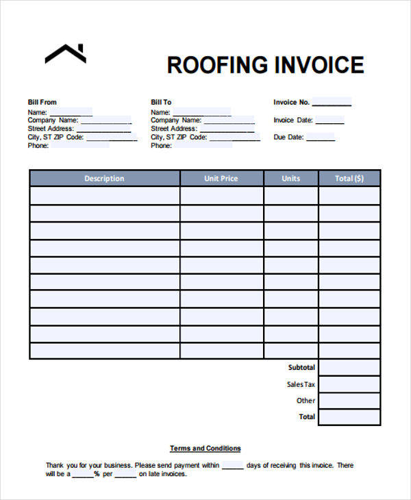 roof invoice template  6  Roofing Invoice Templates - Free Sample, Example, Format Download