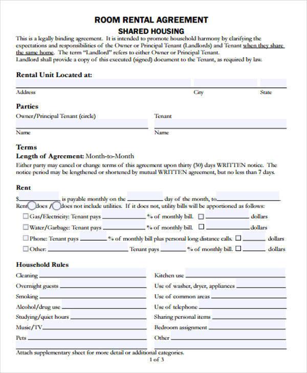 room rental agreement2