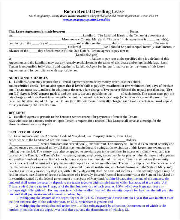 Room For Rent Contracts Samples  Templates  Pdf Doc