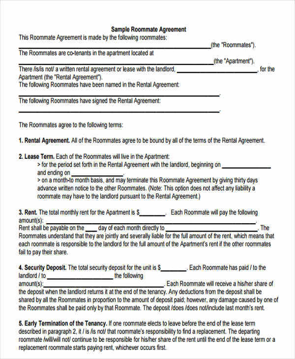 roommate rent contract agreement1