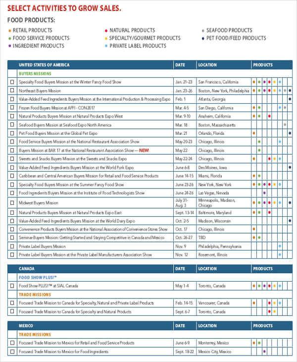 sales activity calendar