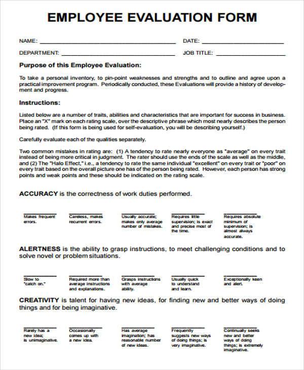 employee evaluation forms - solarfm.tk