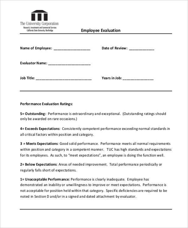 sales performance evaluation forms