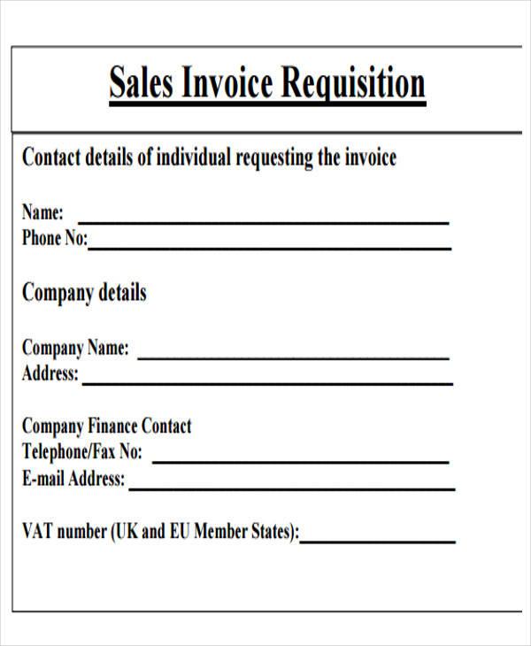 sales invoice requisition