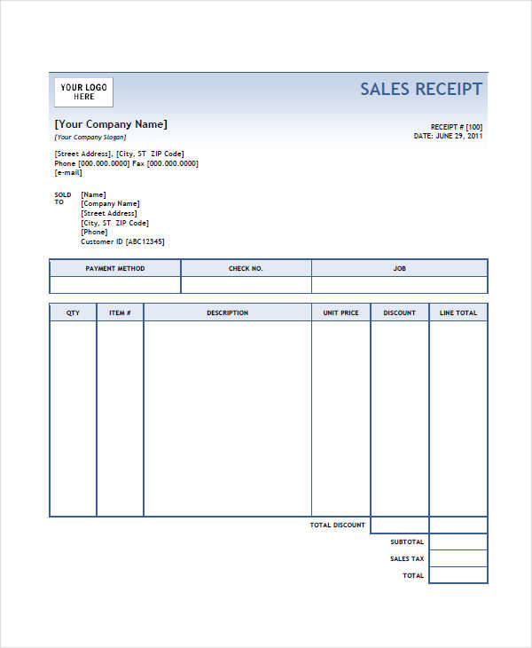 9  simple receipt template  u2013 free sample  example  format