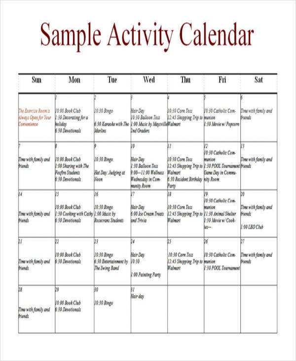 sample activity calendar
