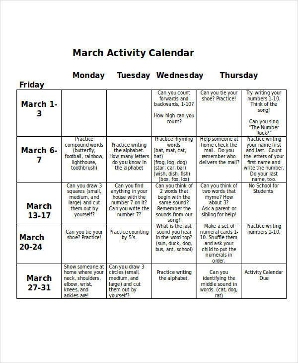 sample activity calendar1