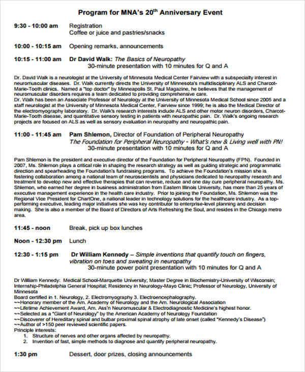 sample anniversary event program