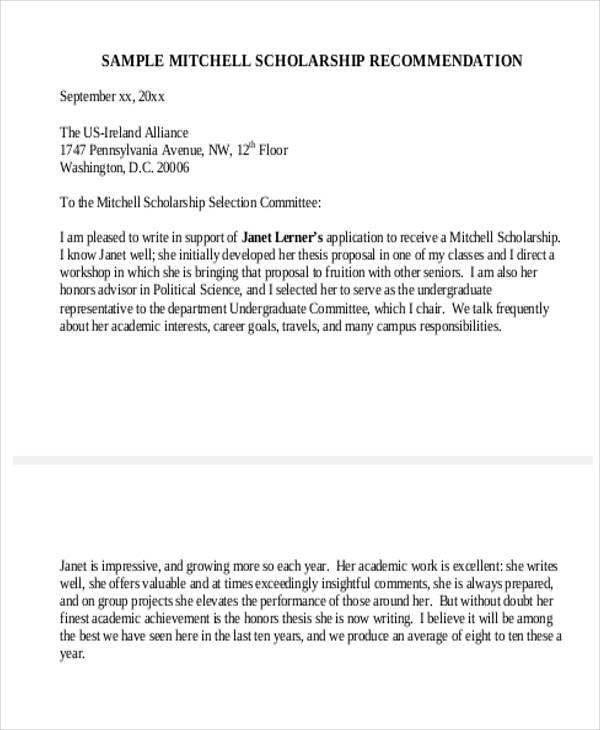 sample application recommendation letter