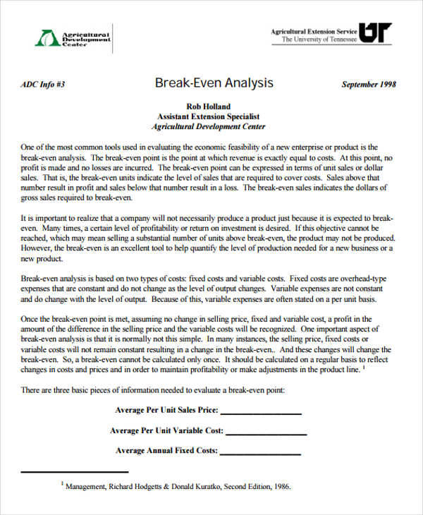 Breakeven Analysis   Examples In Word Pdf