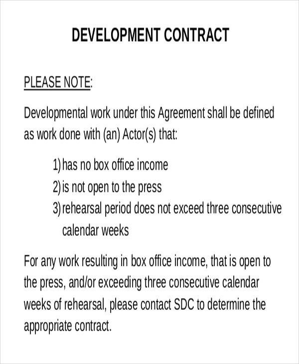 sample development contract