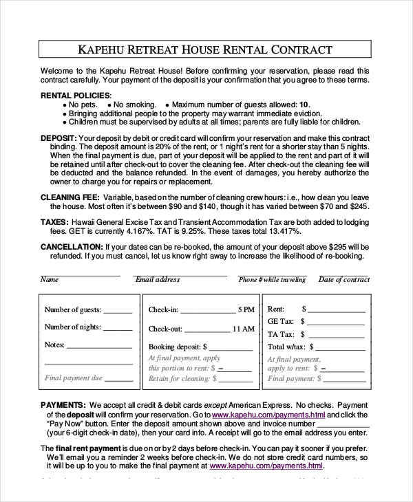 House Rent Contract  Free Sample Example Format Download