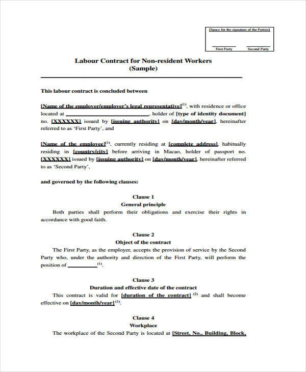 sample labour contract