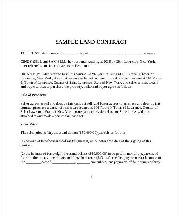 8 land contract samples templates sample templates maxwellsz