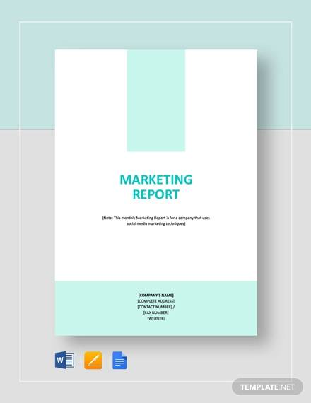 sample marketing report
