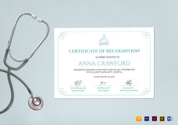 sample medical certificate of recognition