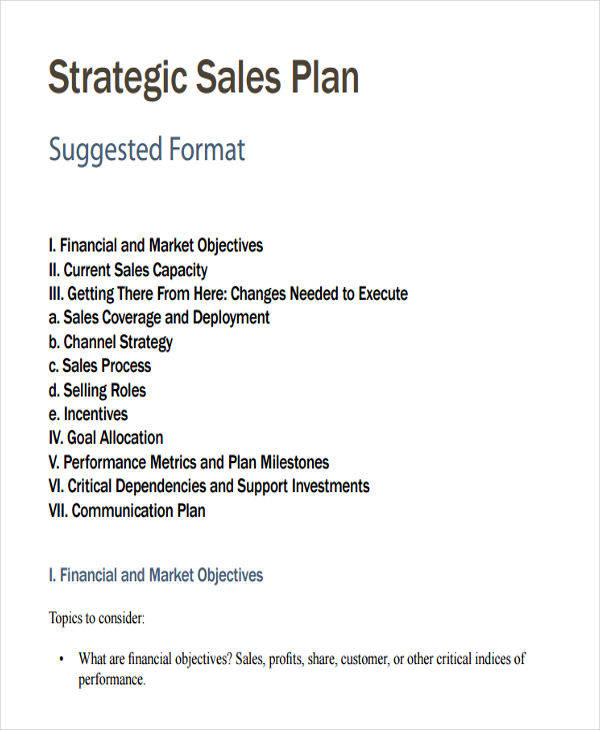 Sample Plan For Strategic Sales