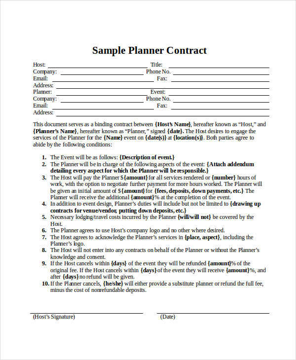 sample planner contract