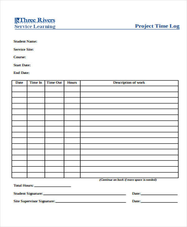 sample project time log