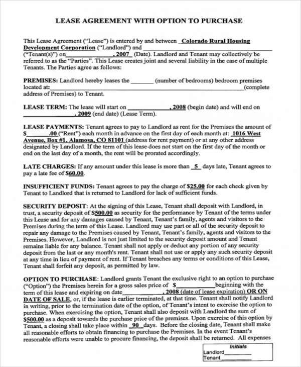 RentToOwn Home Contract  Examples In Word Pdf