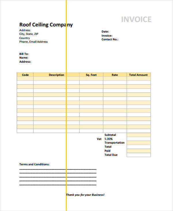 6+ roofing invoice templates - free sample, example, format download, Invoice templates