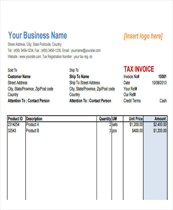 8 sales invoice free sample example format download