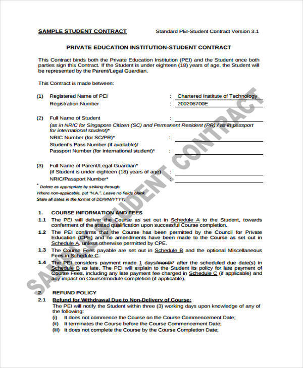 sample student contract