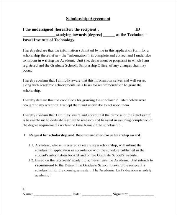 8 Scholarship Contract Templates Free Documents in PDF Word – Student Agreement Contract