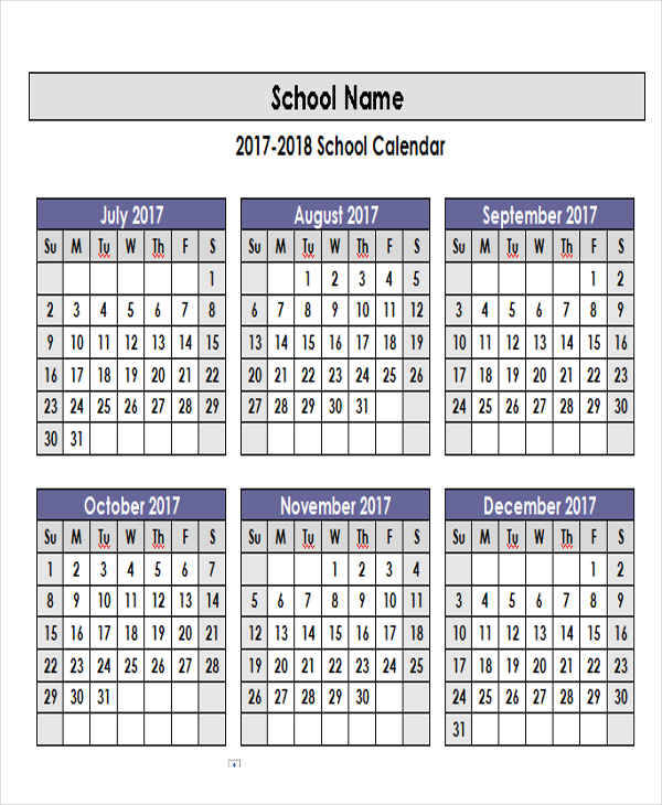 sample academic calendar