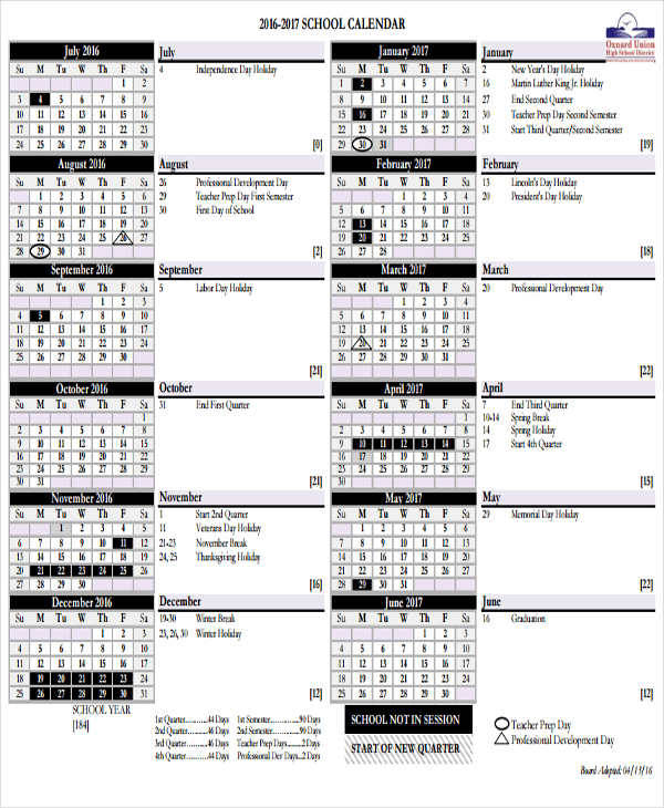 free 17  school calendar templates in ms word