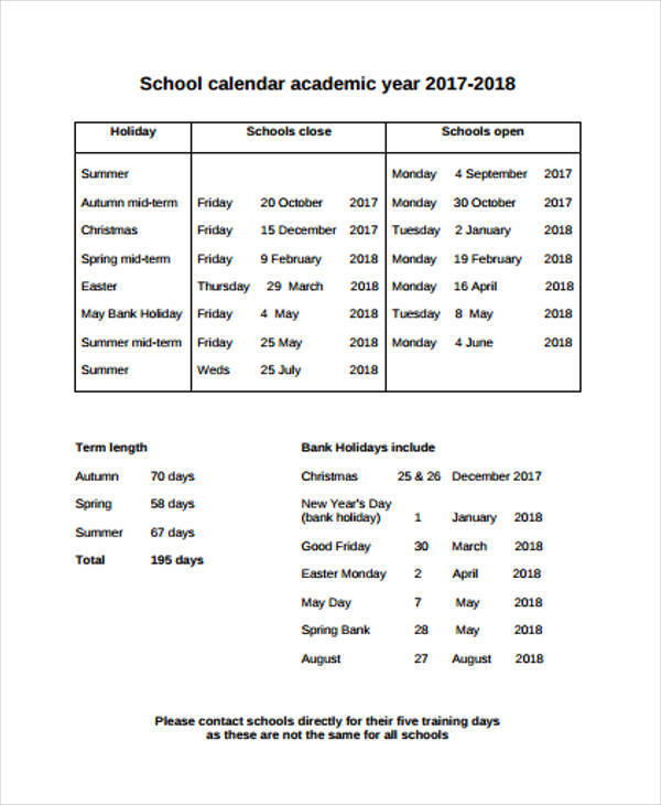 school academic calendar2