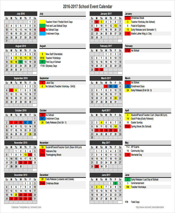 School Calendar Templates  Examples In Word Pdf