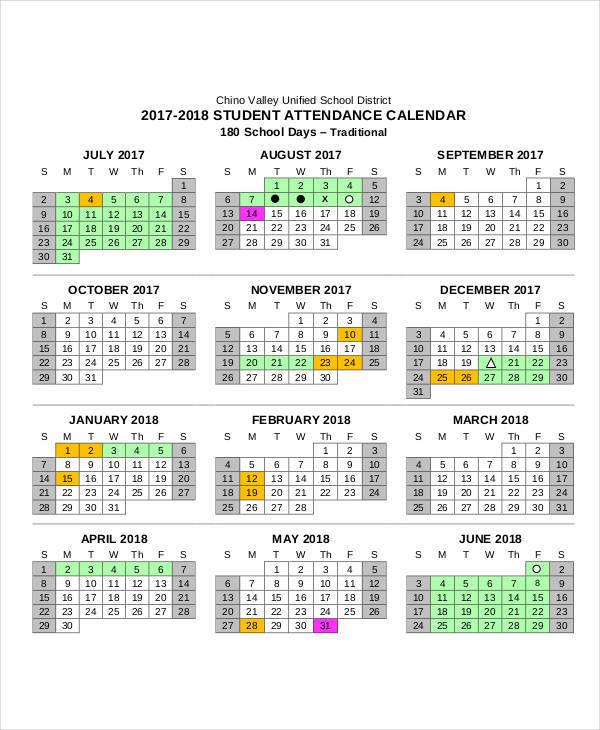 2018 attendance calendar free