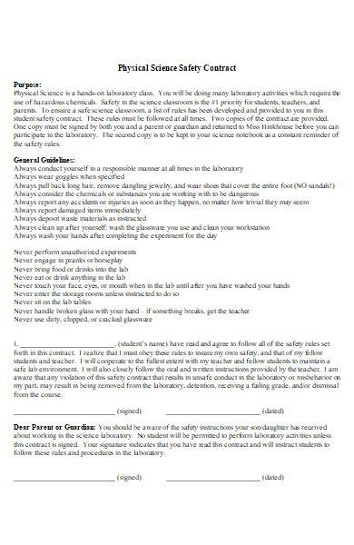 science safety contract template