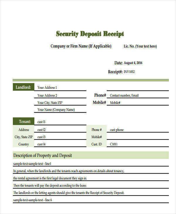 security deposit invoice template