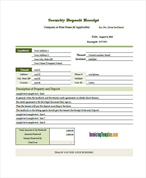 security deposit invoice1