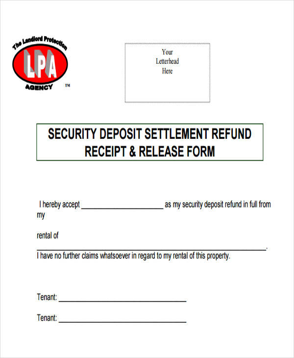 security deposit refund invoice