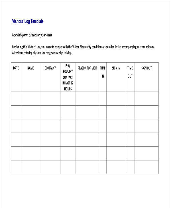 Visitors log template free log templates visitors log for Security sign in sheet template